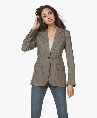 Vanessa Bruno Jivan Herringbone Wool Blend Blazer - Brown