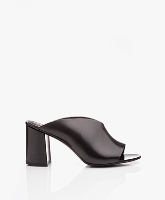 ATP Atelier Licola Leather Block Heel Mules - Black Vacchetta