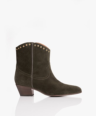 Closed Cowboy Suede Ankle Boots - Deep Forest