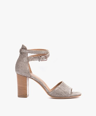 Fred de la Bretonière Embossed Leather Sandals with Heel - Taupe