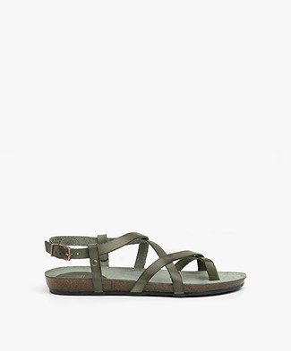 Fred de la Bretonière Leather Sandals - Dark Olive