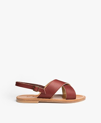 K. Jacques St. Tropez Osomo Leather Sandals - Burgundy