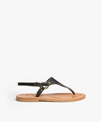 K. Jacques St. Tropez Triton Leather Sandals - Black