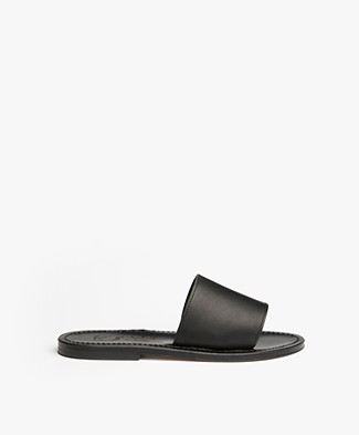 K. Jacques St. Tropez Capri Leather Slipper Sandals - Black