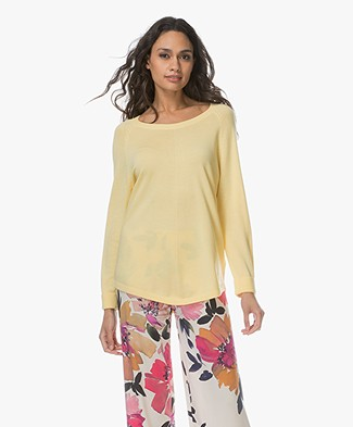 Repeat Round Neck Pullover in Cotton Blend - Light Yellow