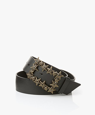 Zadig & Voltaire Star Belt with Rhinestone Detailing - Black