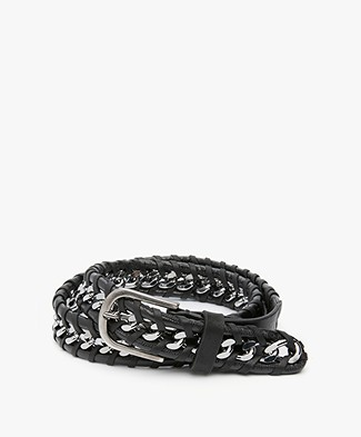 Zadig & Voltaire Chain Leather Belt - Black