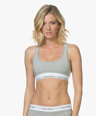 Calvin Klein Modern Cotton Bralette - Grey/White