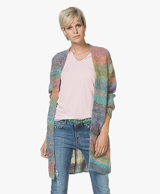 Closed Alpaca-mohair Open Vest - Multi-color