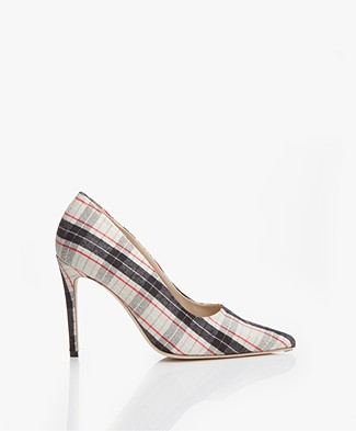 Feraggio Checkered Pumps - Black/White/Red