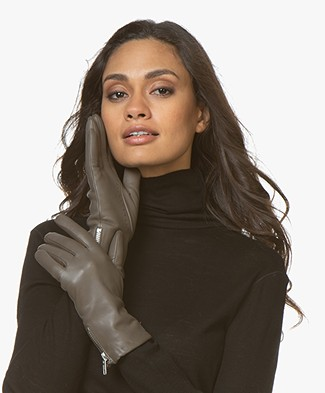Filippa K Zip Leather Gloves - Khaki