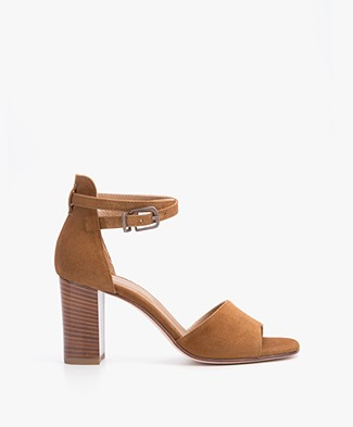 Fred de la Bretonière Suede Sandals with Heel - Cognac