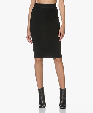 James Perse Fleece Pencil Skirt - Black