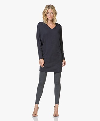 Majestic Filatures V-neck Sweater Dress in Fleece Jersey - Marine