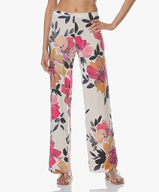 no man's land Floral Print Jersey Pants - Jasmin