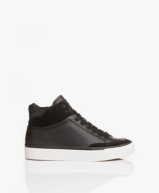 Rag & Bone RB Army High Leather Sneakers - Black