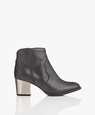 Zadig & Voltaire Molly Leather Ankle Boots - Dark Grey