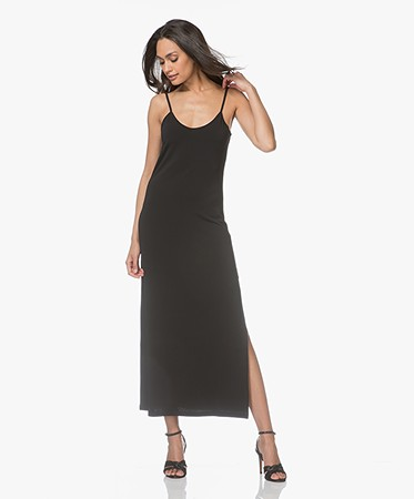 no man's land - no man's land Maxi-jurk in Crêpe Jersey - Zwart