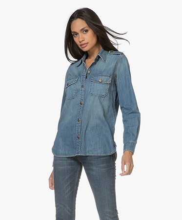 Current/Elliott - Current/Elliott The Perfect Shirt in Denim - Miner