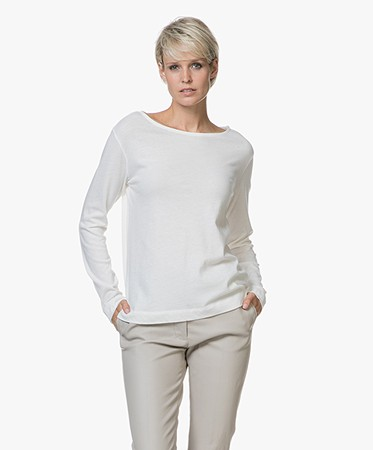 Majestic Long Sleeve T Shirt In Cotton And Cashmere