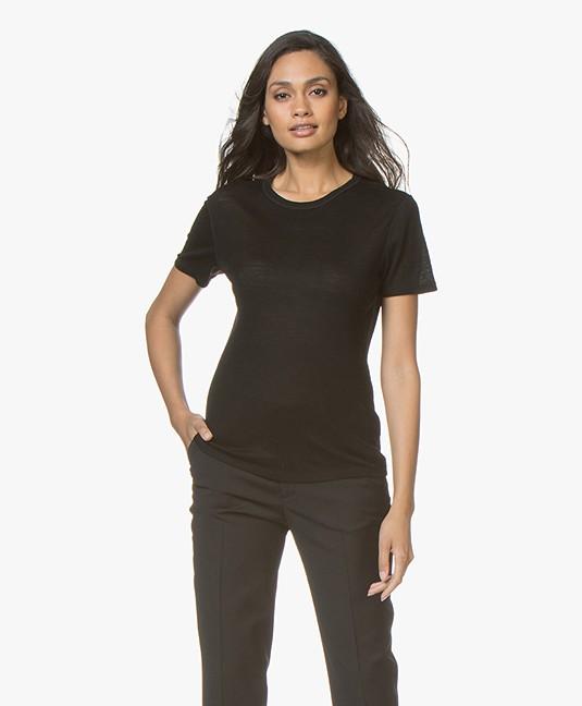 Filippa K Merino Wool T-shirt - Black - 25346 1433