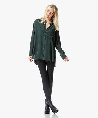 Equipment Melodie Long Silk Tunic Blouse - Scarab Green