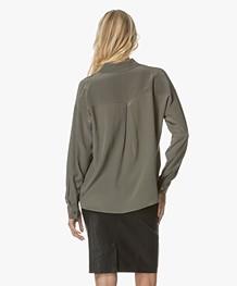 Repeat Silk Blouse - Khaki