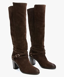 Fred de la Bretonière High Suede Boots - Dark Brown