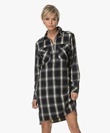 Drykorn Shani Checked Shirt Dress - Dark Blue/Off-white/Grey