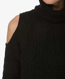 Theory Cold Shoulder Sweater with Cable Structure - Black