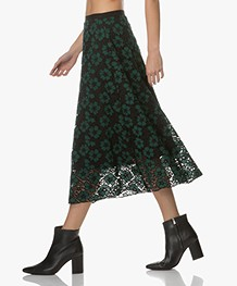 BY-BAR Limited Embroidery Kanten Midi-rok - Groen