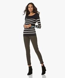 Breizh L'Elisa Striped Pullover with Silk - Navy/Ecru