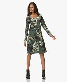 Kyra & Ko Marit V-neck Velvet Dress - Moss