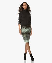 Kyra & Ko Soof Printed Velvet Pencil Skirt - Moss