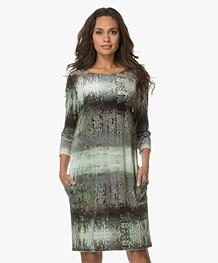 Kyra & Ko Truus Printed Velvet Dress - Moss
