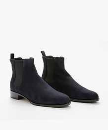 Panara Chelsea Suede Leather Boots - Dark Blue