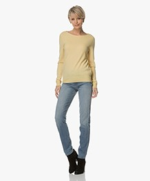 Repeat Cashmere Boat Neck Pullover - Light Yellow