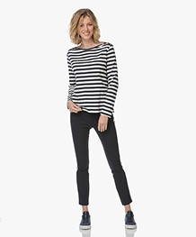 Rag & Bone Simone Side Stripe Broek - Donkerblauw/Wit