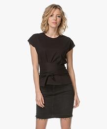 ba&sh T-shirt met Strikceintuur - Zwart
