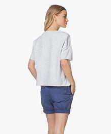 Closed Sweatshirt met Korte Mouwen - Lichtgrijs Mêlee