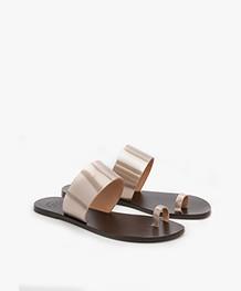 ATP Atelier Astrid Leather Toe Slipper Sandals - Toffee Metallic