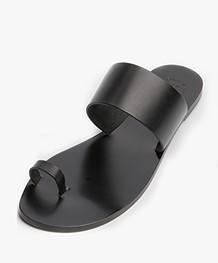 ATP Atelier Astrid Leather Toe Slipper Sandals - Black
