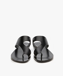 ATP Atelier Roma Leather Toe Slipper Sandals - Black