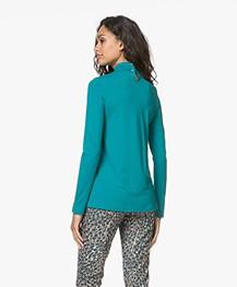 Kyra & Ko Lotte Jersey Strikhals Longsleeve - Turquoise