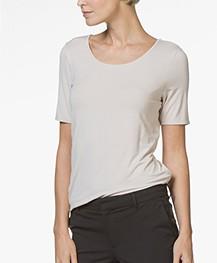Repeat Viscose T-shirt met Ronde Hals - Beige