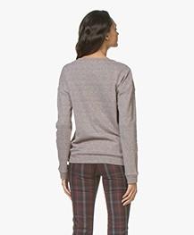 Majestic Filatures Tweed Look Katoenmix Sweater - Bordeaux/Milk
