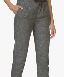 Drykorn Level Cropped Tweed Broek - Antraciet Mêlee