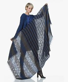 Kyra & Ko Silke Jacquard Sjaal in Katoen - Kobalt