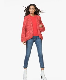 Kiro By Kim Chunky Knit Mohair Blend Cardigan - Red/Pink
