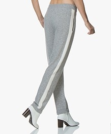 Repeat Cashmere Knitted Side Stripe Pants - Light Grey/Cream